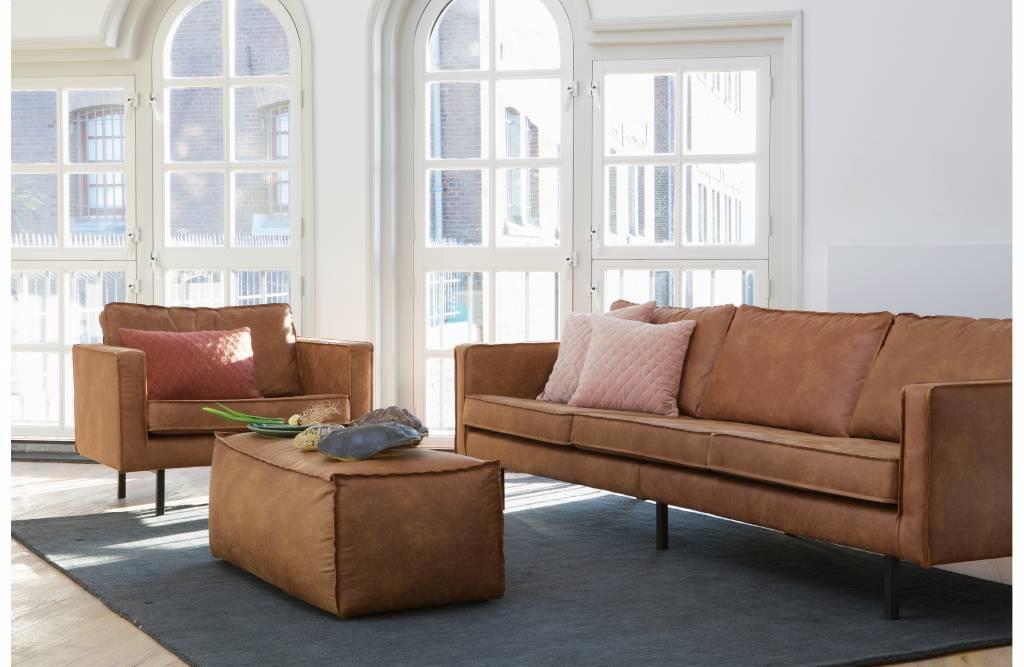 Bepurehome Sofa 3 Sitzer Rodeo Recyceltes Leder Cognac Braun