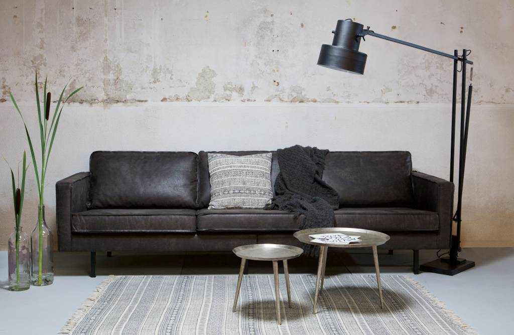bepurehome sofa 3 sitzer rodeo recyceltes leder schwarz orangehaus. Black Bedroom Furniture Sets. Home Design Ideas