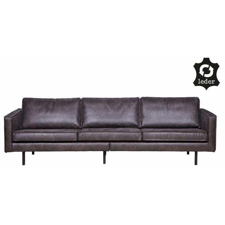 Bepurehome Sofa 3 Sitzer Rodeo Recyceltes Leder Schwarz Orangehaus