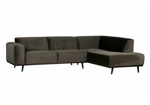 BePureHome Corner sofa Statement Right velvet warm green