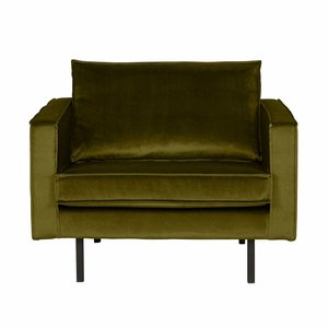 BePureHome Fauteuil Rodeo velvet olive green