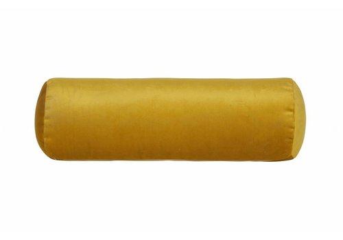 BePureHome Cushion Spool velvet ocher yellow