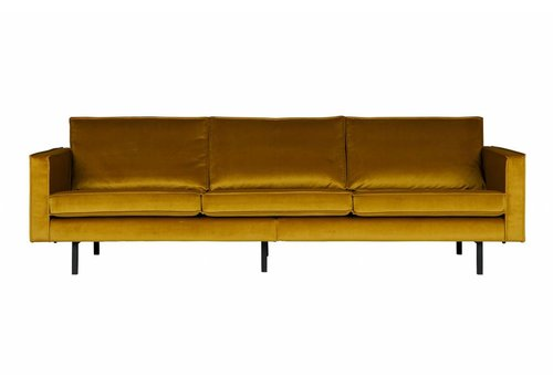 BePureHome Sofa 3-seater Rodeo velvet ocher yellow