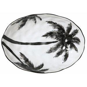 HKliving Serveerschaal ovaal palmen  'jungle'