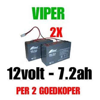 2x Accu 12volt - 7.2ah vd Viper X-Range/ Storm/ Icon/ MK3 voerboten