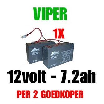 Accu 12volt - 7.2ah vd Viper X-Range/ Storm/ Icon/ MK3 voerboten