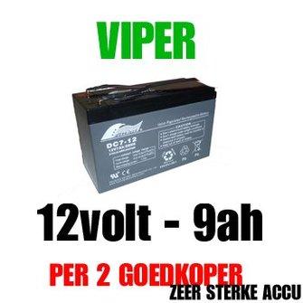 Accu 12volt - 9ah vd Viper X-Range/ Storm/ Icon/ MK3 voerboten