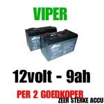 2x Accu 12volt - 9ah vd Viper X-Range/ Storm/ Icon/ MK3 voerboten