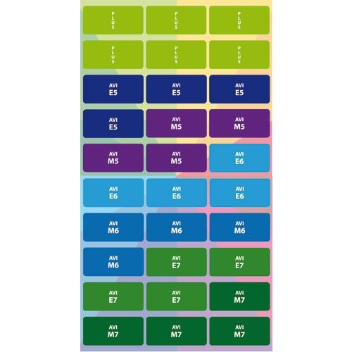 Stammetjes Stickervel AVI, E5 t/m Plus