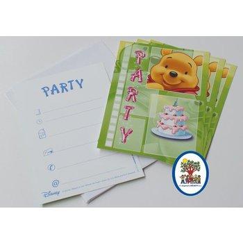 4 Uitnodigingskaartjes met Winnie the Pooh (groen) erop