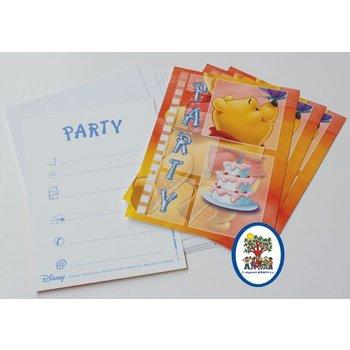 4 Uitnodigingskaartjes Winnie the Pooh (oranje)