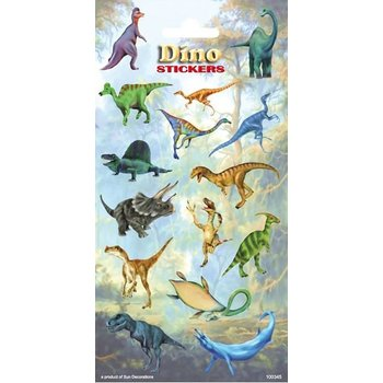Stickervel met in totaal 15 dinostickers