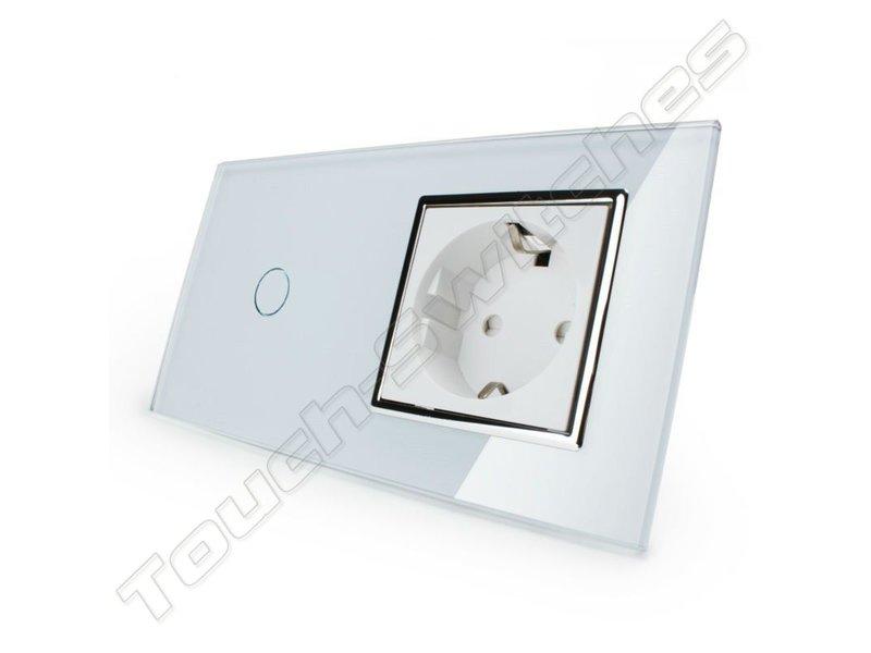 Design Touch Schakelaar | Enkelpolig + EU Wandcontactdoos | 2 Raams