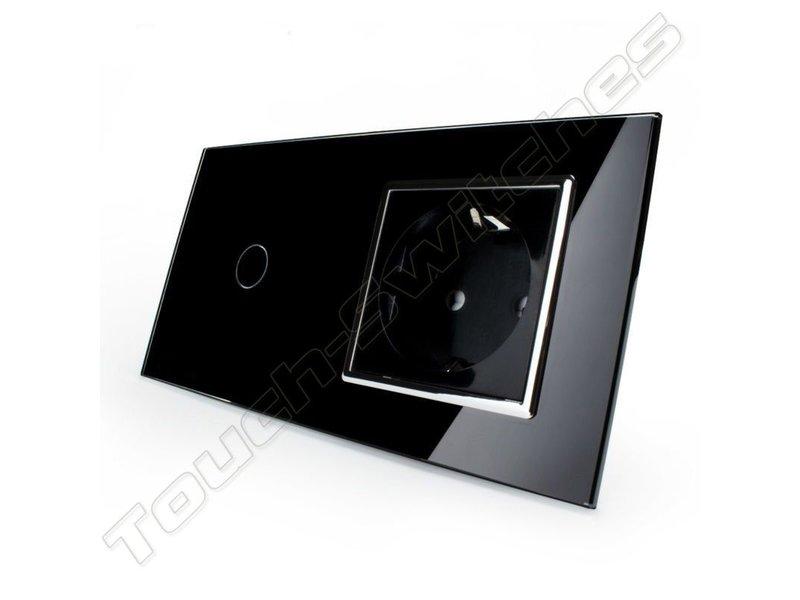 Livolo Design Touch Schakelaar | Enkelpolig + EU Wandcontactdoos | 2 Raams