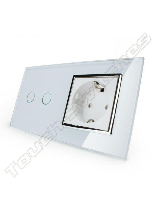 Touch Switch   2-Gang + EU Socket