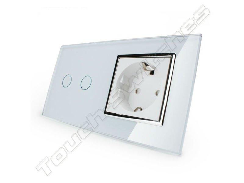 Design Touch Schakelaar   Serie + EU Wandcontactdoos   2 Raams