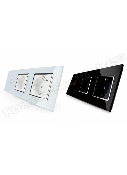 Touch-Schalter   1-Polig + 2 x EU Steckdose
