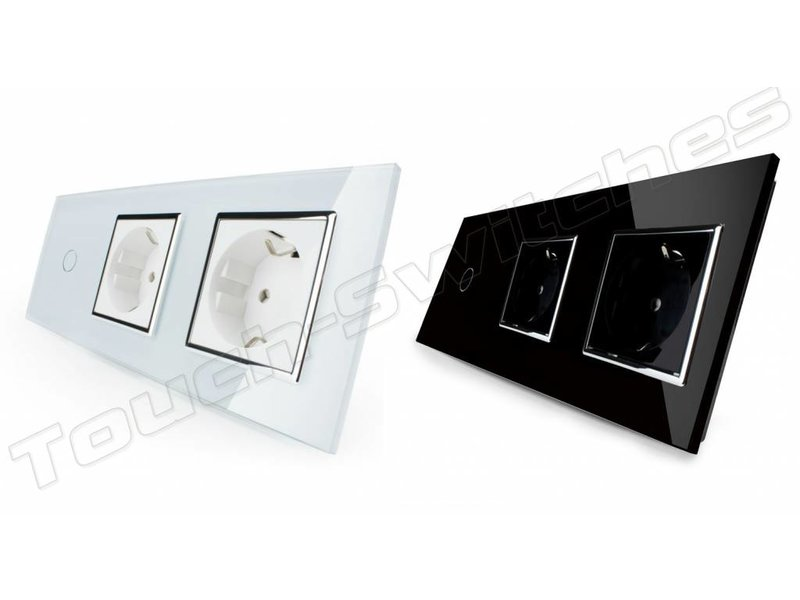 Livolo Design Touch Switch | 1-Gang + 2 x EU Socket | 3 Hole