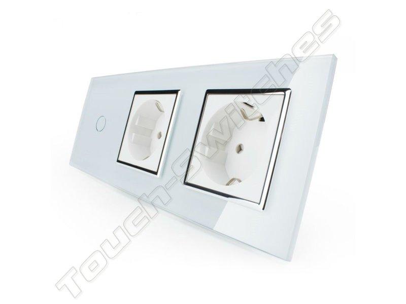 Design Touch Schakelaar   Enkelpolig + 2 x EU Wandcontactdoos   3 Raams