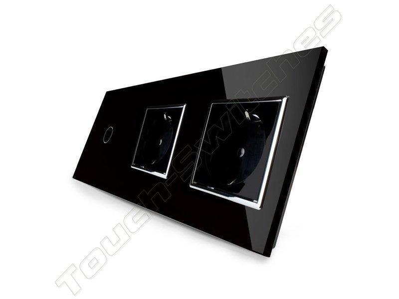Livolo Design Touch Schakelaar | Enkelpolig + 2 x EU Wandcontactdoos | 3 Raams