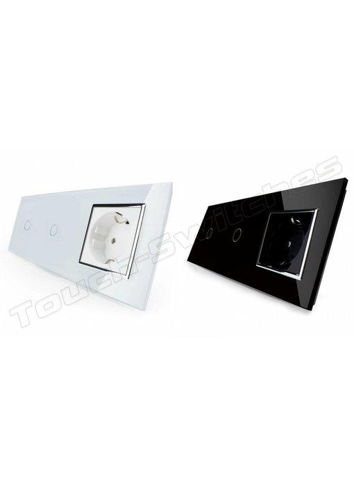 Touch-Schalter   2 x 1-Polig + EU Steckdose