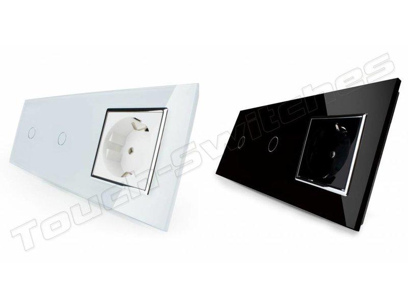 Design Touch-Schalter | 2 x 1-Polig + EU Steckdose | 3 Fach