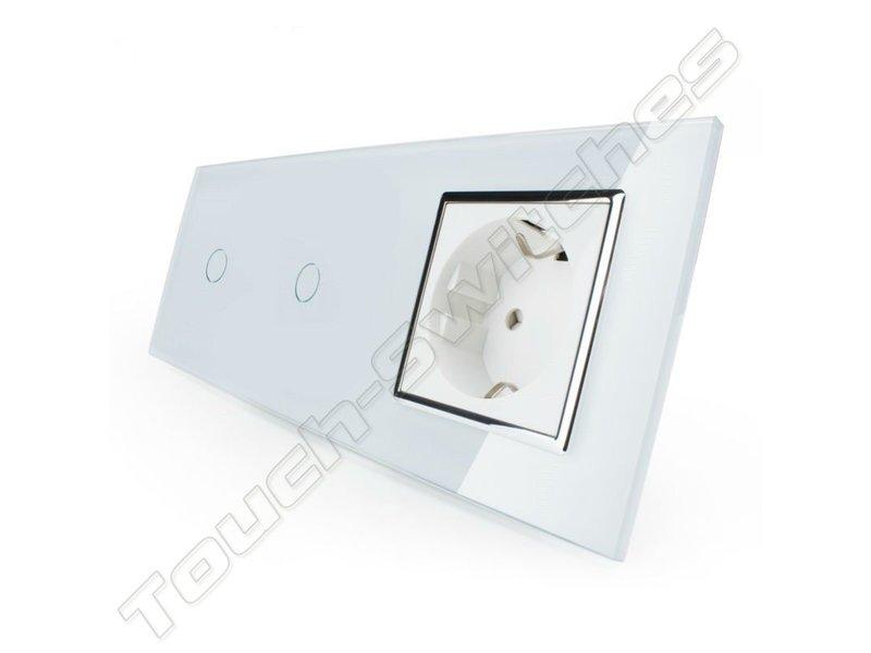 Livolo Design Touch Schakelaar | 2 x Enkelpolig + EU Wandcontactdoos | 3 Raams