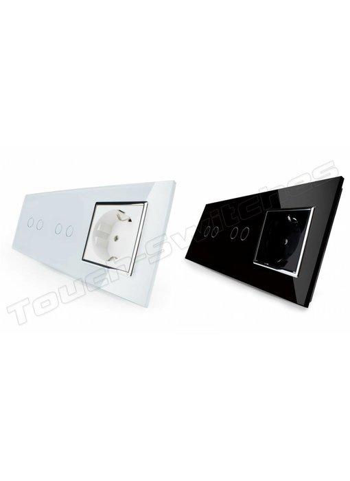 Touch-Schalter   2 x 2-Polig + EU Steckdose