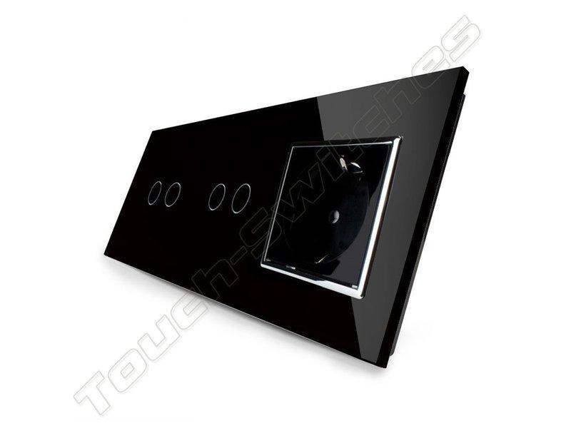 Design Touch-Schalter | 2 x 2-Polig + EU Steckdose | 3 Fach