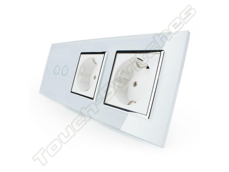 Livolo Design Touch Switch | 2-Gang + 2 x EU Socket | 3 Hole