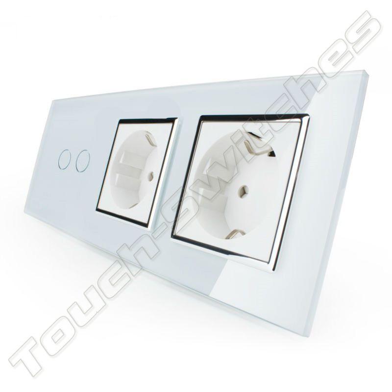Livolo Design Touch-Schalter   2-Polig + 2 x EU Steckdose   3 Fach ...