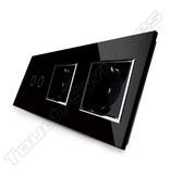 Livolo Design Touch-Schalter | 2-Polig + 2 x EU Steckdose | 3 Fach