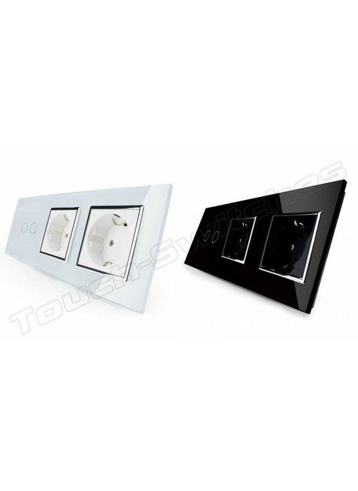 Touch Switch   2-Gang + 2 x EU Socket