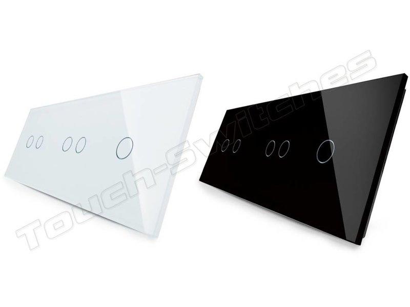 Livolo Design Glass Panel   2 x 2-Gang + 1-Gang   3 Hole