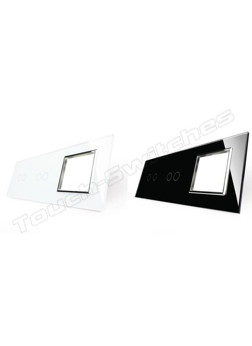Livolo Glass Panel | 2 x 2-Gang + Module/Socket