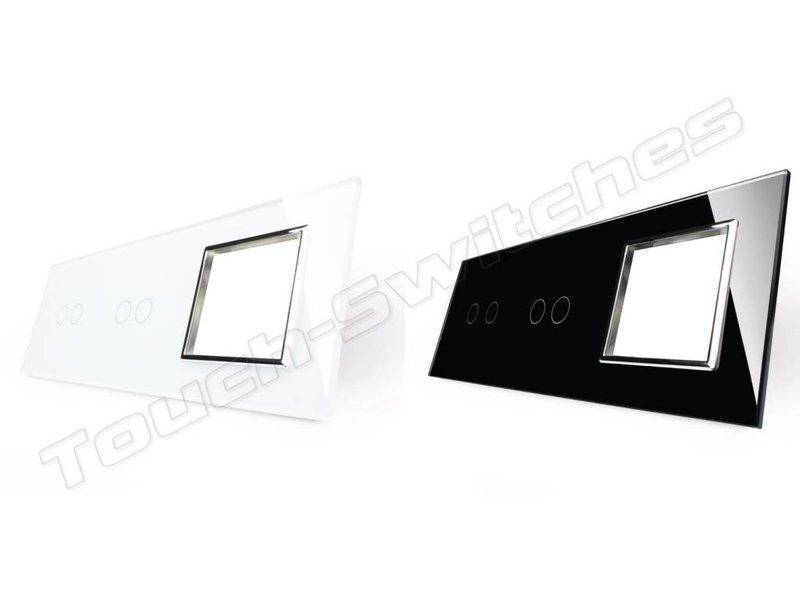 Livolo Design Glass Panel | 2 x 2-Gang + Module/Socket | 3 Hole