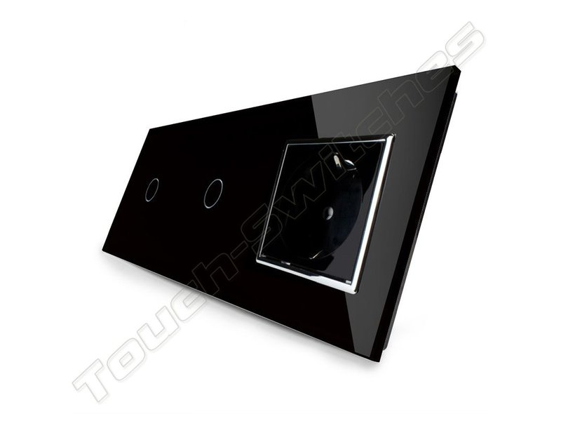 Livolo Design Touch Dimmer | 2 x Enkelpolig + EU Wandcontactdoos | 3 Raams