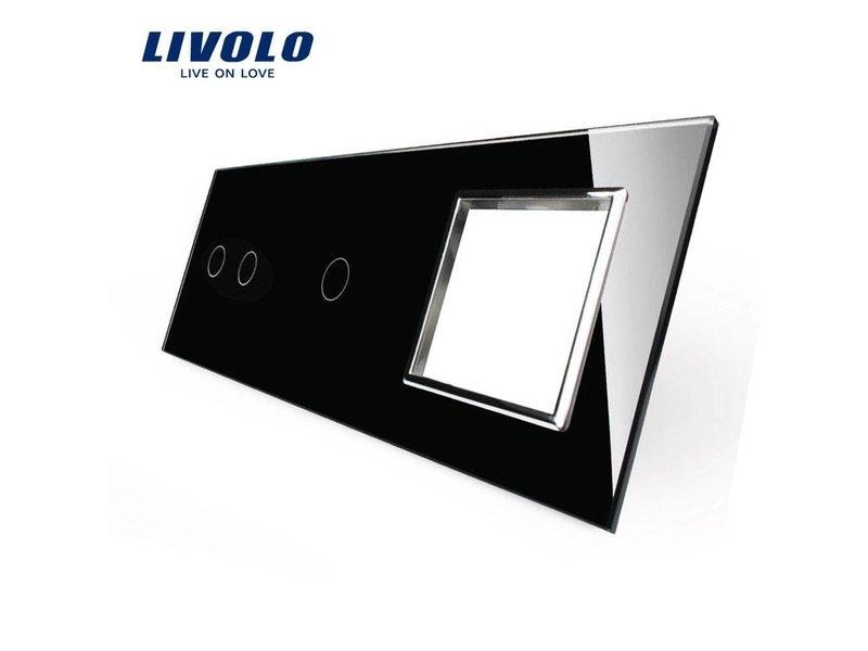 Livolo Design | Glaspaneel | Serie + Enkelpolig + Module/Wandcontactdoos | 3 Raams