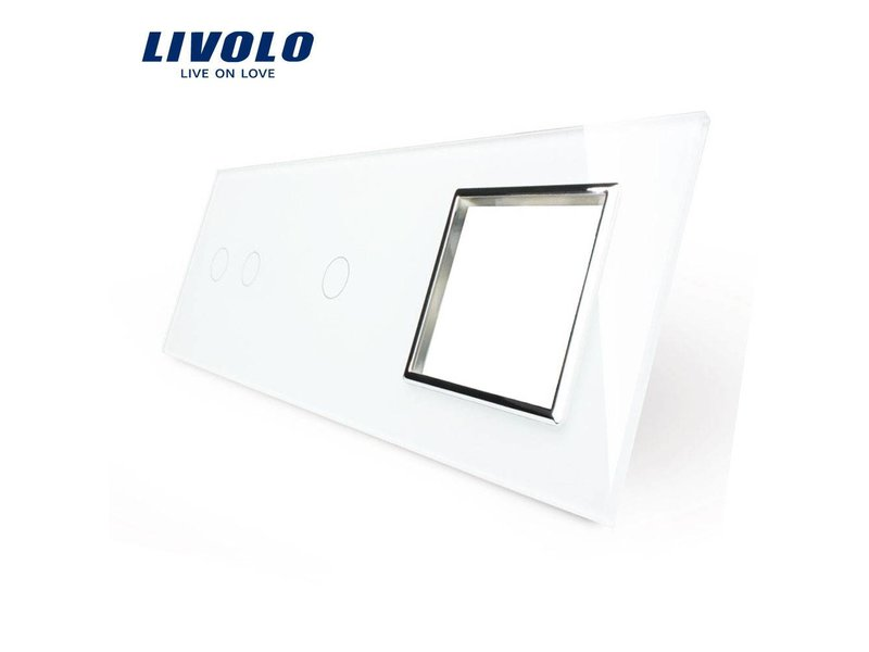 Livolo Design Glass Panel | 2-Gang + 1-Gang + Module/Socket | 3 Hole