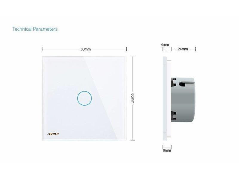 Design Touch-Schalter | 1-polig + Wechsel | 1 Fach
