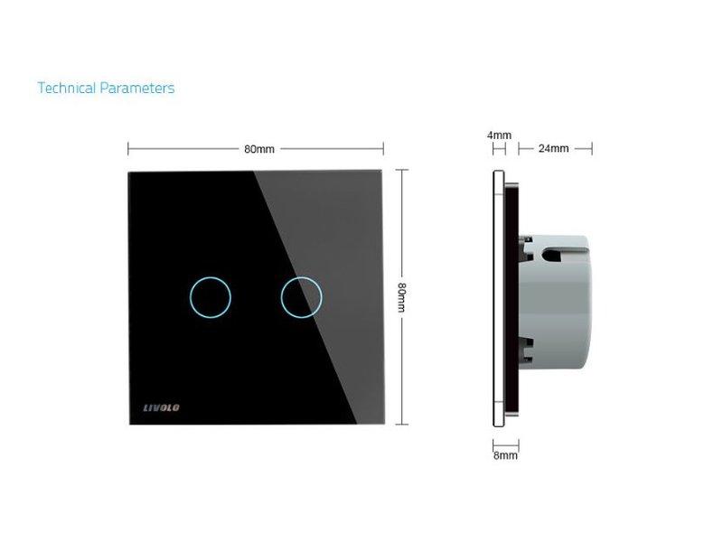 Design Touch Schakelaar | Serie + Wissel | 2-polig | 1 Raam