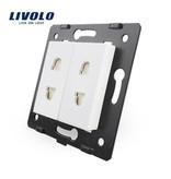 Livolo Design Wandcontactdoos module | 2 X enkelvoudig | Ongeaard | 1 Raam