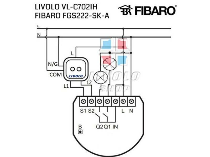 Livolo Design Touch Switch | Series | Suitable for Fibaro | 2-pole | 1 Hole