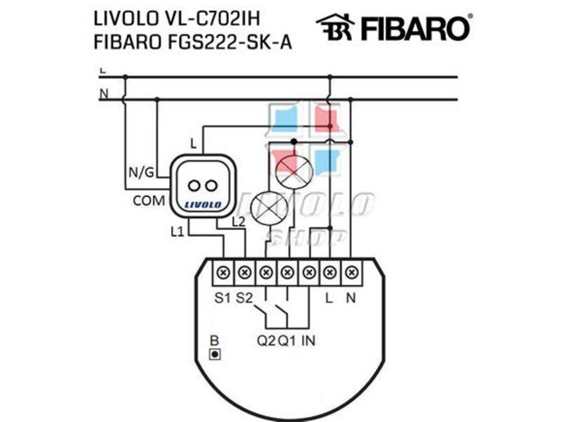 Livolo Entwerfen Sie Noten-Schalter | Serie | Geeignet für Fibaro | 2-polig | 1 Fach