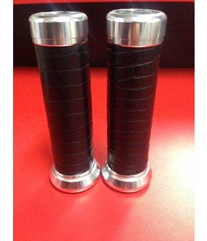 Zwart lederen Custom made handvaten voor Vespa