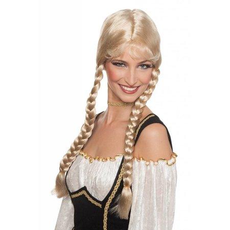 Oktoberfest pruik de luxe blond