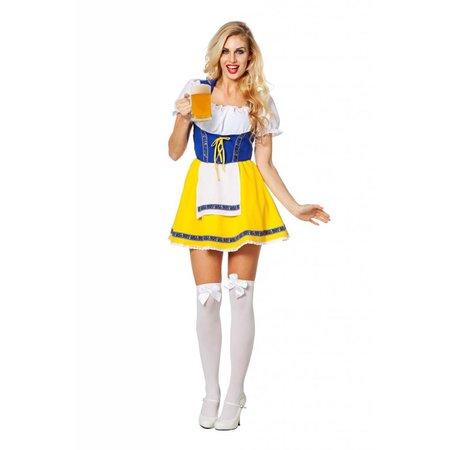 Biermeisje outfit geel/blauw