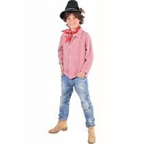 Geblokte blouse rood/wit kind