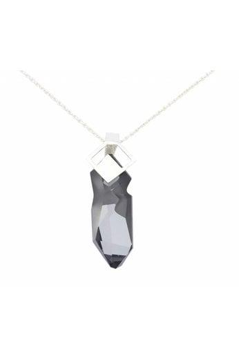 Necklace geometric grey Swarovski crystal pendant - silver - ARLIZI 0869 - Iris