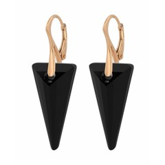 Earrings crystal spike - silver rose gold plated - 0897